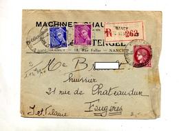 Lettre Recommandee Nancy Porte Nicolas Sur Mercure Ceres - Marcophilie (Lettres)