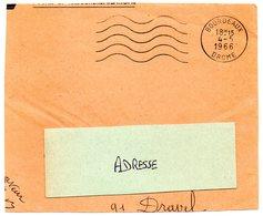 DROME - Dépt N° 26 = BOURDEAUX 1966 = FLAMME Non Codée = SECAP Muette '5 Lignes Ondulées' - Marcophilie (Lettres)