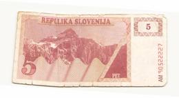 Slovénie Billet De 5 Tolars - Slovénie