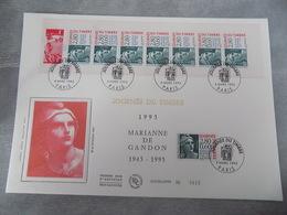 Premier Jour (FDC) Grand Format France 1995 : Journée Du Timbre, 150 Ans De La Marianne De Gandon (bande Carnet) - FDC