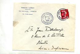 Lettre Cachet Lorient Entrepot Sur Muller - Marcophilie (Lettres)