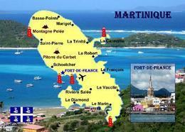 Martinique Island Map New Postcard - Martinique