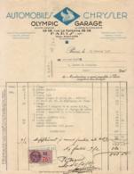 AUTOMOBILES CHRYSLER OLYMPIC GARAGE RUE LA FONTAINE à PARIS     ........  FACTURE DE 1937 - Automobile