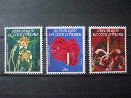IVORY COAST 1977 3 STAMPS FLOWERS MNH** HIGH COTATION Mi. Nr 532 A B C - Côte D'Ivoire (1960-...)
