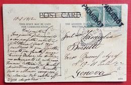 NAVIGAZIONE  PAQUEBOT SU  Coppia LEONI 5 C.  Su CARTOLINA DA GIBILTERRA 19/9/1912  GENOVA  22/9/12 - Maritime