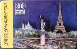 Prepaidcard Frankreich - Leader Communications - Eiffelturm - Freiheitsstatue - 60 Units - Frankreich