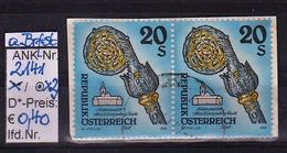 """8.10.1993  -  Freim.-Erg.-Wert  """"Stifte U. Klöster In Ö.""""  -  2x  O Gestempelt  - Siehe Scan  (2141o X2) - 1991-00 Usados"""