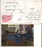 601746,Künstler Ak Alfred J. Jirasek Nachmittag Nähen Handarbeit Heimarbeit Hausarbei - Berufe