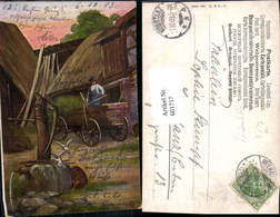 601717,Künstler Ak Bauer A. Wagen Brunnen Landwirtschaft - Bauern