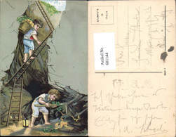 601144,Künstler Ak Kinder Bauen Gold Ab Goldmine Bergbau Klee Glücksbringer - Bergbau