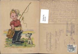 601135,Künstler Ak Bub Junge M. Angel Hund Humor Fischerei Fischen - Fischerei