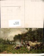 601121,Künstler Ak Otto Gebler Hirtenleben Hirten Schäfer Schafe Gänse Gänsehirtin Hu - Berufe