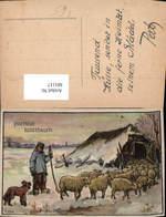 601117,Künstler Ak Hirte Schäfer Schafe Hirtenhund Hund Prettige Kerstdagen - Berufe