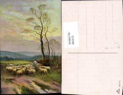 601113,Künstler Ak Hirte Schäfer Schafe Schafherde Zaun - Berufe