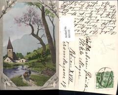 601110,Hirte Schäfer Schafe Dorf Passepartout Palmkätzchen Palmzweige Schneeglöckchen - Berufe