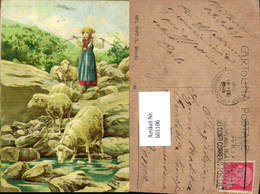 601106,Künstler Ak Hirtin  Schäferin M. Schafe Bach - Berufe