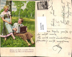 601096,Paar Liebe Birken Blumenwiese Musik Ziehharmonika Spruch Text - Paare