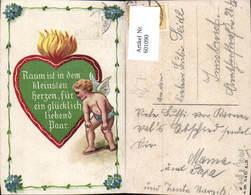 601090,Künstler Ak Paar Liebe Amor Engel Herz Flammendes Herz Spruch - Paare