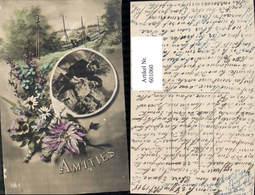 601060,Fotomontage Paar Liebe Amities Eisenbahn Zug Blumen - Paare