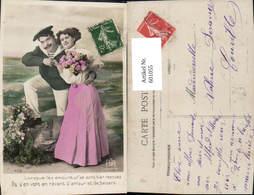 601055,Paar Liebe Matrose Umarmung Blumen Rosen Spruch Text - Paare