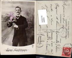 600991,Mann Anzug M. Blumen Joyeux Anniversaire - Männer