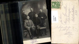 600984,Foto Ak Gruppenbild Männer Anzug Soldaten Militär Knöpfe - Männer