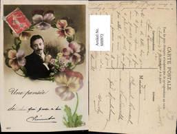 600972,Fotomontage Mann Portrait Schnurbart Blumen Une Pnsee - Männer