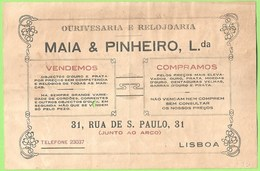 Lisboa - Factura Da Ourivesaria E Relojoaria Maia & Pinheiro, Lda. - Ourives - Portugal