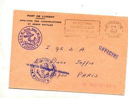 Lettre Dispense  Flamme Lorient Festival Interceltique + Cache T Marine D C A N  Construction Armement - Marcophilie (Lettres)