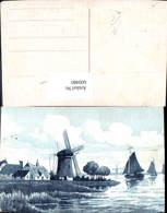 600480,Künstler Ak Windmühle Segelboote - Windmühlen