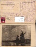 600478,Künstler Ak Canal Mühlen B. Amsterdam Windmühle - Windmühlen