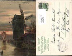 600475,Künstler Ak Windmühle Abendstimmung Segelboot - Windmühlen