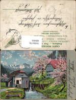 600456,Künstler Ak Wassermühle Landschaft Baumblüte - Wassermühlen