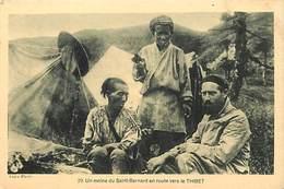 Pays Div-ref R685- Tibet - Thibet - Un Moine Du Saint Bernard En Route Vers Le Thibet - Carte Bon Etat  - - Tibet