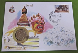 Numisbrief Nepal Münze Briefmarke - Népal