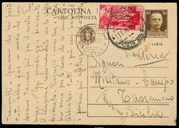 LIBIA. 1940 (13 July). Tripoli - Sicily 30c Stat Card Ovptd + Adt 50c. F-VF. - Libya