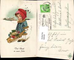 600330,Künstler Ak Kind Mädchen M. Schubkarre Puppe Neujahr - Kinder