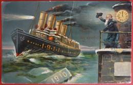 NEW YEAR GREETINGS 1911 , STEAMER - Steamers