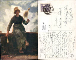 600214,Künstler Ak Millet Spinnerin Frau Spinnrad Spindel - Bauern