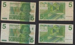 HOLLANDE NEDERLAND PAYS-BAS 2 Billets De 5 Gulden 1973 - 5 Gulden