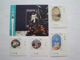1989 St Kitts Yv 682/5 + BF 17 ** MNH Espace Space Cote 13.00 € Michel 252/5 + B9  Scott 248/52 - St.Kitts-et-Nevis ( 1983-...)