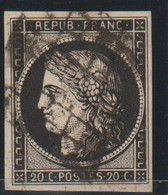 YT 3h Obl 20c Noir Intense Sur Teinté, Jolie Nuance, Rare, TB - 1849-1850 Cérès