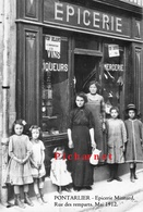 PONTARLIER - L'épicerie MINNARD, Rue Des Remparts - Retirage D'une Photo Prise à Partir D'une Plaque De Verre. Mai 1912. - Magasins