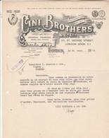 Royaume Uni Facture Lettre Illustrée 26/3/1931 CINI BROTHERS Wines & Spirits  LONDON - Royaume-Uni