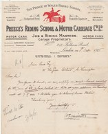 Royaume Uni Facture Lettre Illustrée 5/10/1915 PREECE'S RIDING SCHOOL & MOTOR CARRIAGE - Motor Cars LONDON - United Kingdom