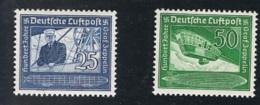 1938 5. Juli Flugpostmarke Mi 669 - 70 Sn C59 - 60 Yt DR PA57 Sg DR 657 - 58 AFA DR 664 - 65 Mit Gummierung Und Falz - Gebraucht