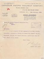 Royaume Uni Facture Lettre Illustrée 12/2/1913 CANADIAN PACIFIC RAILWAY Company Atlantic Steamship Lines LONDON - United Kingdom
