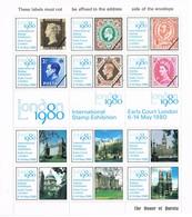 31527. Hojita Completa Stamp Exhibition LONDON 1980. Viñeta, Label, Vignette. ERINOPHILIE ** - Otros