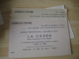 Lot De 3 Ceres Asurance Grele Agriculteur Tampon Duval Vernon Buvard - Banque & Assurance