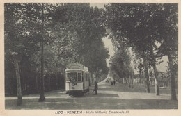 VENEZIA-LIDO-VIALE VITTORIO EMANUELE III-TRAM IN PRIMISSIMO PIANO-CARTOLINA NON VIAGGIATA -ANNO 1920-1930 - Venezia